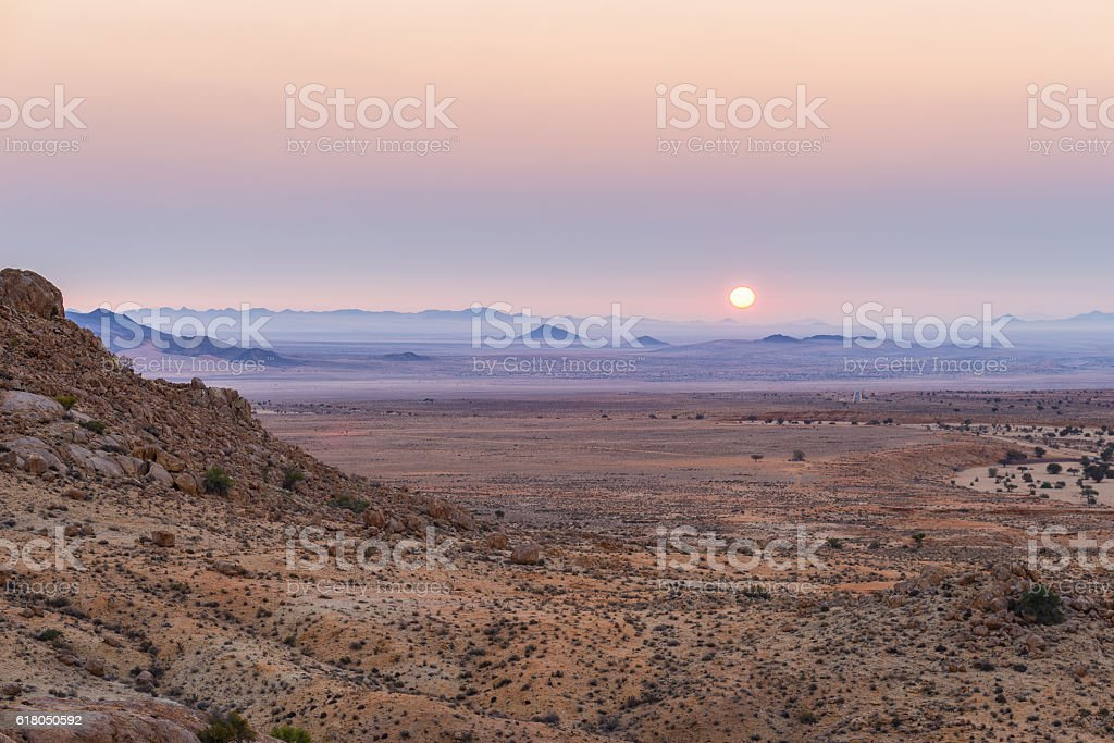 Colorful sunset over the Namib desert, Africa stock photo