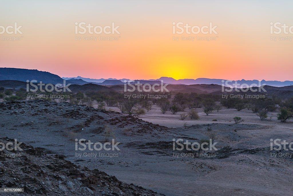 Colorful sunset over the Namib desert, Africa photo libre de droits