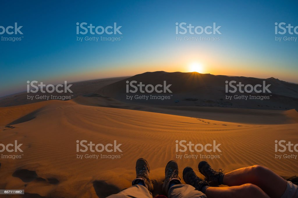 Colorful sunset over the Namib desert stock photo