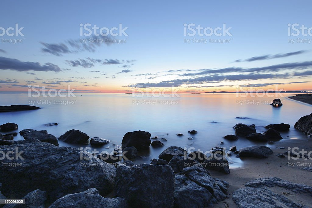Colorful Sunset over the Shore royalty-free stock photo