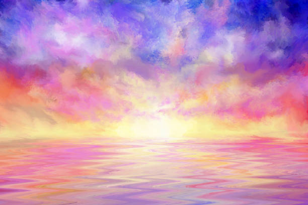 colorful sunset over water, impressionism painting - impressionist painting stock photos and pictures
