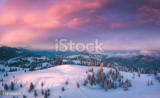 Idyllic winter landscape at sunset. View from above.