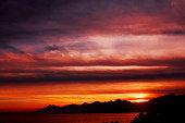 Sunset, Panoramic, Cloudscape, Dramatic Sky, Scenics, Panoramic,  Cloud - Sky, Sky, Land,  sea,beach, Dark,  Looking At view, love, Antalya, Turkey,island