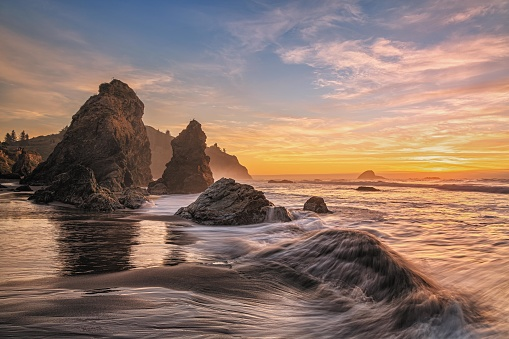 A colorful seascape image taken at sunset. Humboldt County, California, USA.