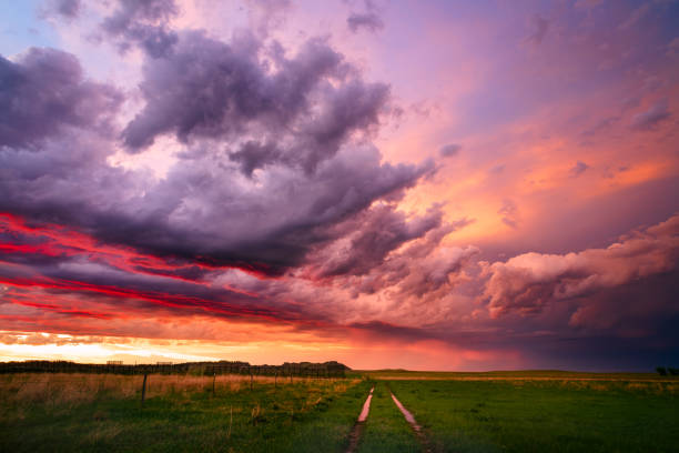 Colorful sunset sky over a dirt road and field stock photo