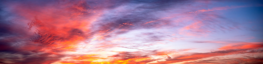 Colorful sunset, sunrise sky with clouds. Nature background