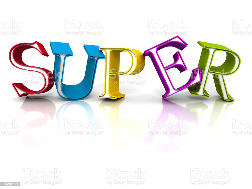 Colorful SUPER Word Letters On White Background stock photo