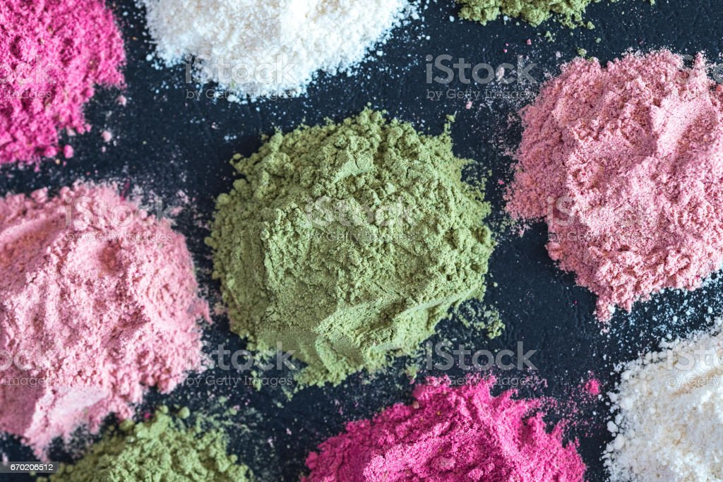 Colorful superfood powders stock photo