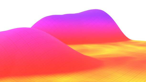 Colorful surface dimentional grid landscape graph of mathematical function 3d illustration stock photo
