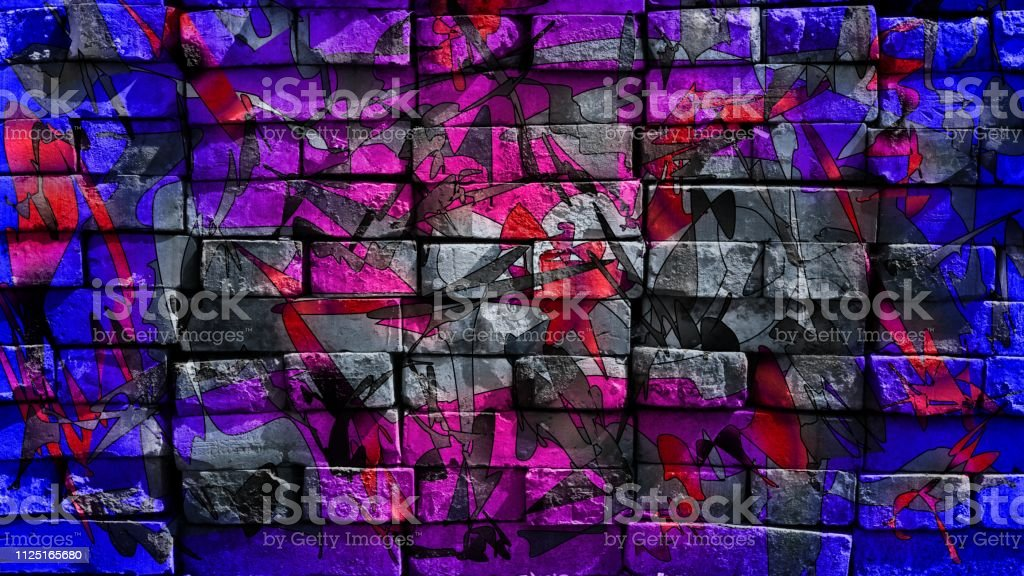 Colorful surreal world. Virtual graffiti. Abstract image, drawn on a photo of a brick wall. stock photo
