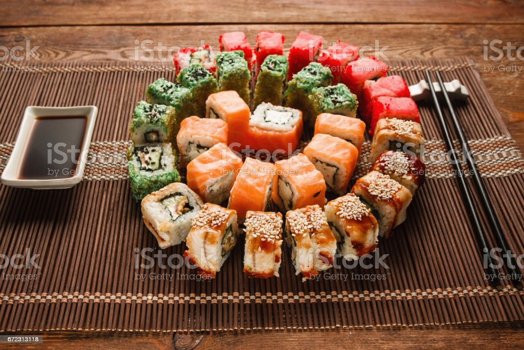 Colorful japanese sushi, food art. Appetizing colorful spiral of...