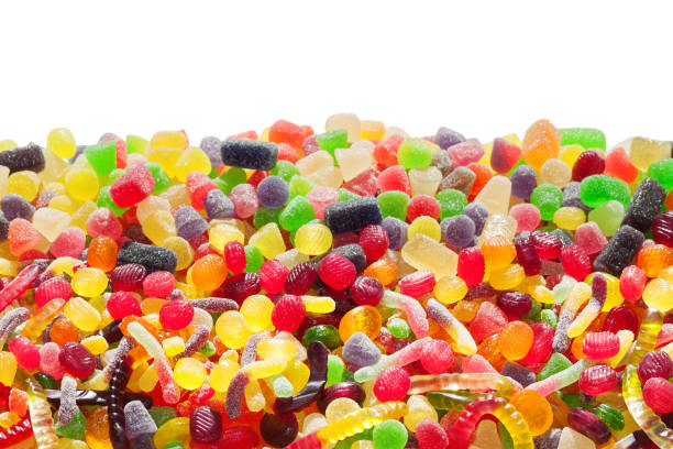 colorful  sweets isolated on white background stock photo