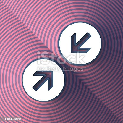 istock Colorful symbol. Two arrows, one opposite the other. Button with shadow. Colorful sign. 3d rendering 1140363520