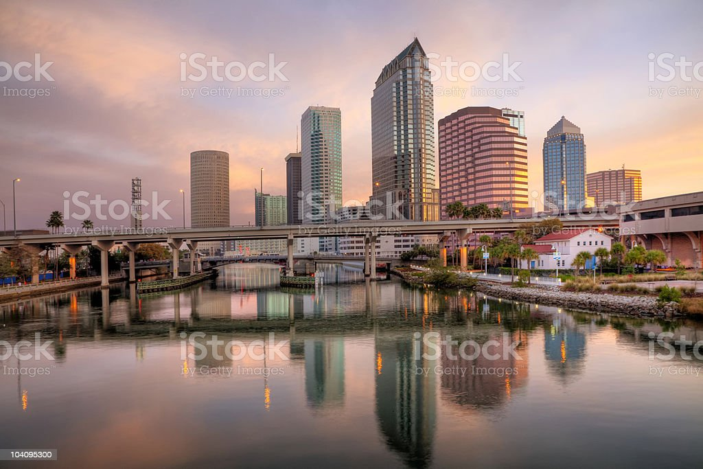 Colorful Tampa Sunrise royalty-free stock photo