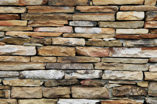 colorful tan and brown thin cut stacked stone block wall with shadows and straight lines suitable for website background marketing backgrounds backdrops architecture architectural layout design stock photo
