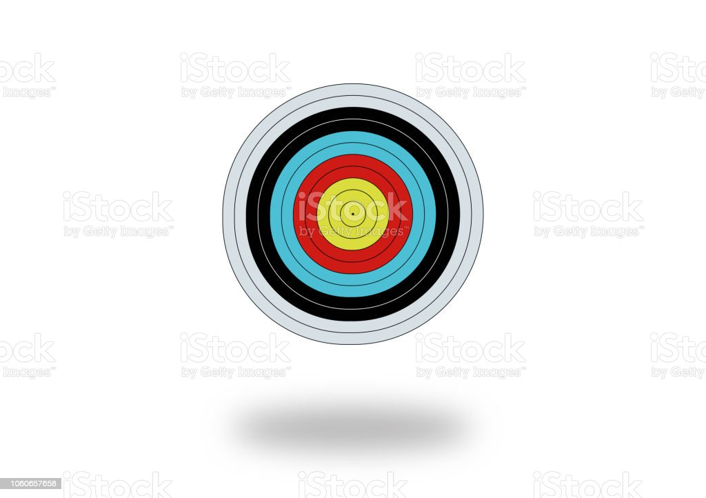 colorful target board on white stock photo