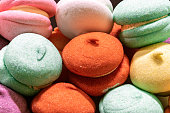 istock Colorful tasty marshmallow background. Candy dessert food concept. 1208444404