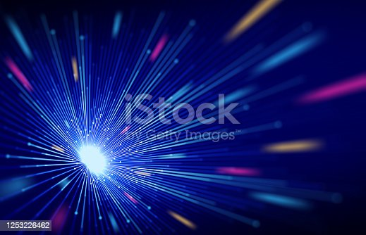 Colorful Technology Abstract Light Tunnel Background.