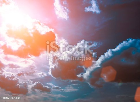 istock Colorful technology clouds on dramatic sunset sky 1057017938