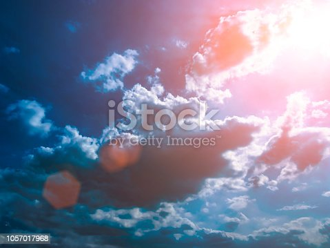 istock Colorful technology clouds on dramatic sunset sky 1057017968