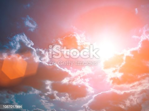 istock Colorful technology clouds on dramatic sunset sky 1057017994