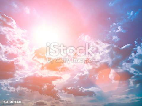 istock Colorful technology clouds on dramatic sunset sky 1057018068