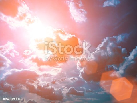 istock Colorful technology clouds on dramatic sunset sky 1057018090