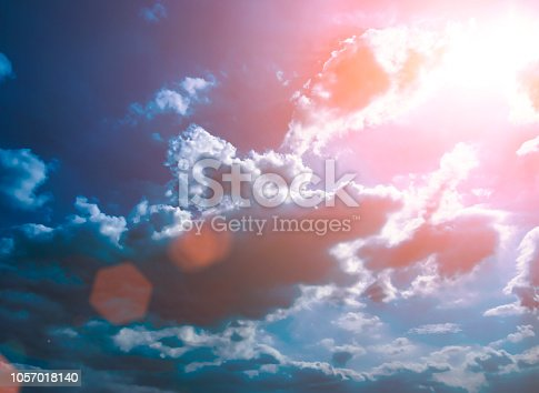 istock Colorful technology clouds on dramatic sunset sky 1057018140