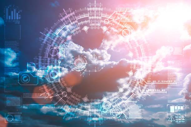 Bunte Technologie Wolken am dramatischen Sonnenuntergang Himmel – Foto