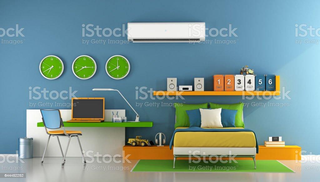 Colorful Teenage bedroom stock photo