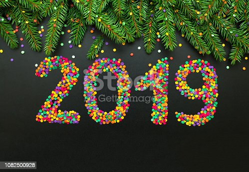 istock Colorful template to greeting card New Year 2019 1082500928