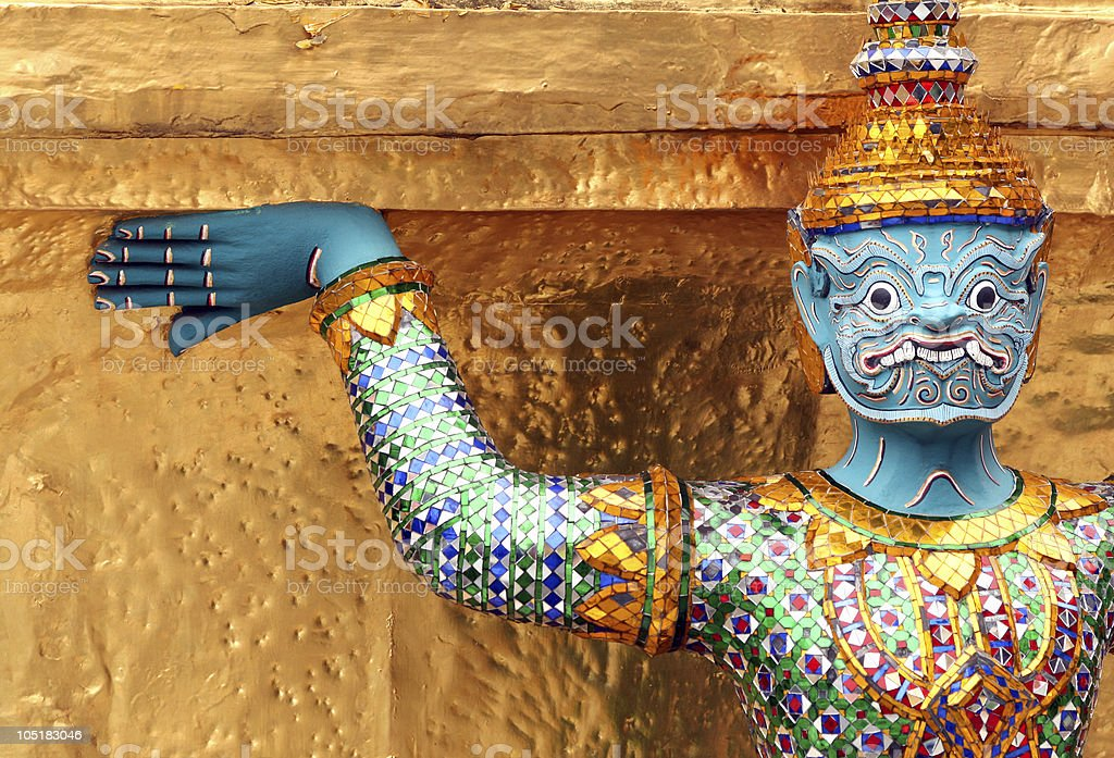 Colorful temple guardian statue stock photo