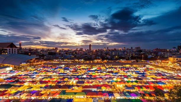 Colorful tents at night market in Bangkok, Thailand. Colorful tents at night market in Bangkok, Thailand. night market stock pictures, royalty-free photos & images