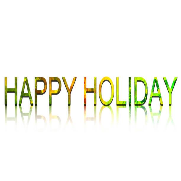 bunte text happy holiday auf weißem hintergrund - weihnachtsspende stock-fotos und bilder