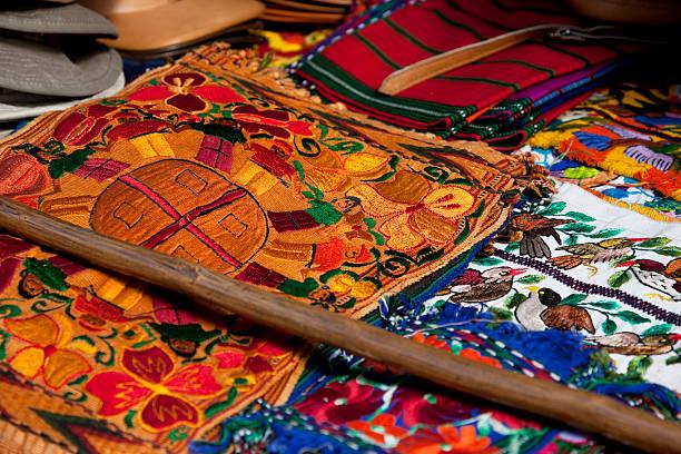 Colorful textiles of Guatemala stock photo