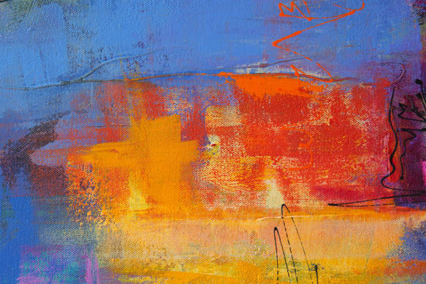 Colorful Texture Acrylic Painting on Canvas stock photo