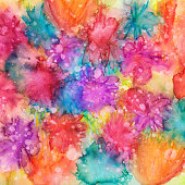 An hand painted background with watercolors and ink. There is texture from paint pooling and splatters. There are a variety of colors including pink, blue, red, orange and more. The subtle shapes almost resemble abstract flowers.