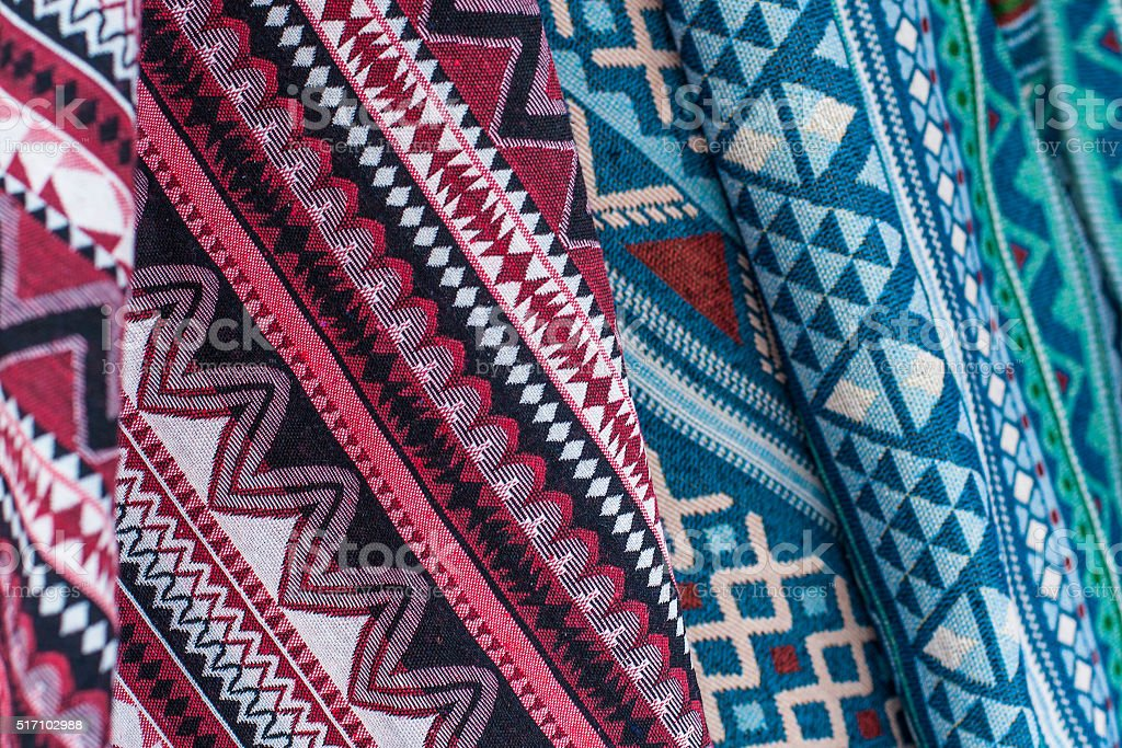 colorful thai cotton fabric stock photo