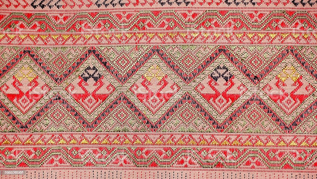 colorful thai silk handcraft peruvian style rug surface old vintage photo libre de droits