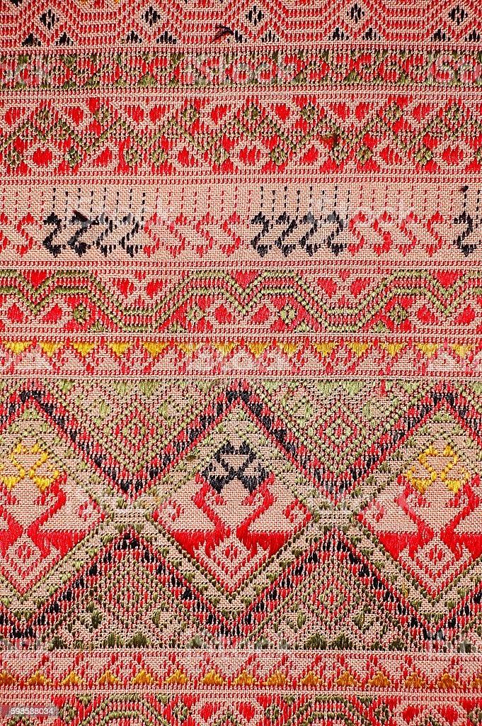 colorful thai silk handcraft peruvian style rug surface old vintage photo libre de droits