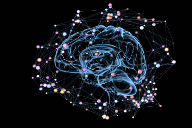 Colorful thoughts Illustration of the thought processes in the brain. 3D illustration neurotransmitter stock pictures, royalty-free photos & images