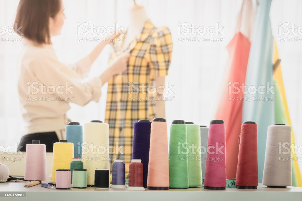 Colorful Thread With Blur Women Fashion Designer Background In Home Start Up Business Ideas Concepts Stock Photo Download Image Now Istock