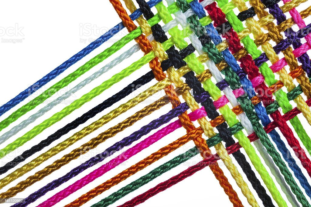 Colorful Threads Woven Together to Form Textile royalty-free stock photo