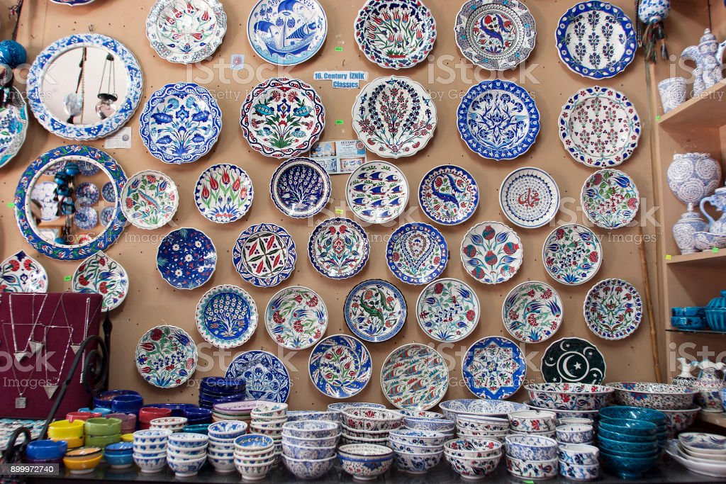 Colorful tiles in Grand Bazaar, Istanbul. stock photo