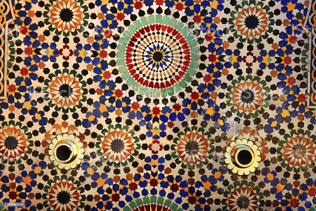 Colorful tiles on fountain, Mausoleum of Mohammed V , Rabat, Morocco. stock photo