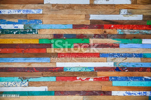 istock Colorful timber plank stripes textured 611318814