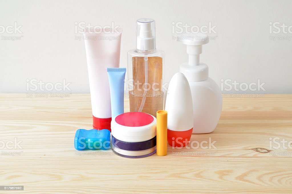 Colorful toiletries on the cupboard stock photo