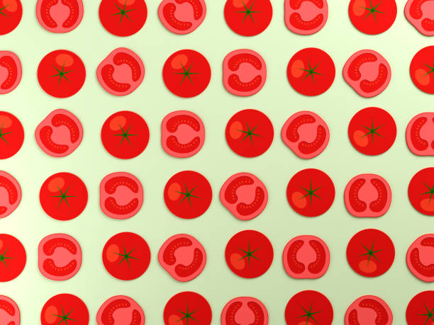 contexte alimentaire tomates colorées - design plat photos et images de collection