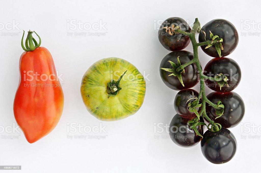 Colorful tomatos on a white background stock photo