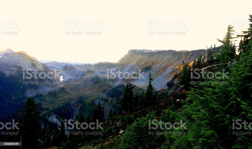 Colorful top of the mountain view with sunset, Mt baker stock photo